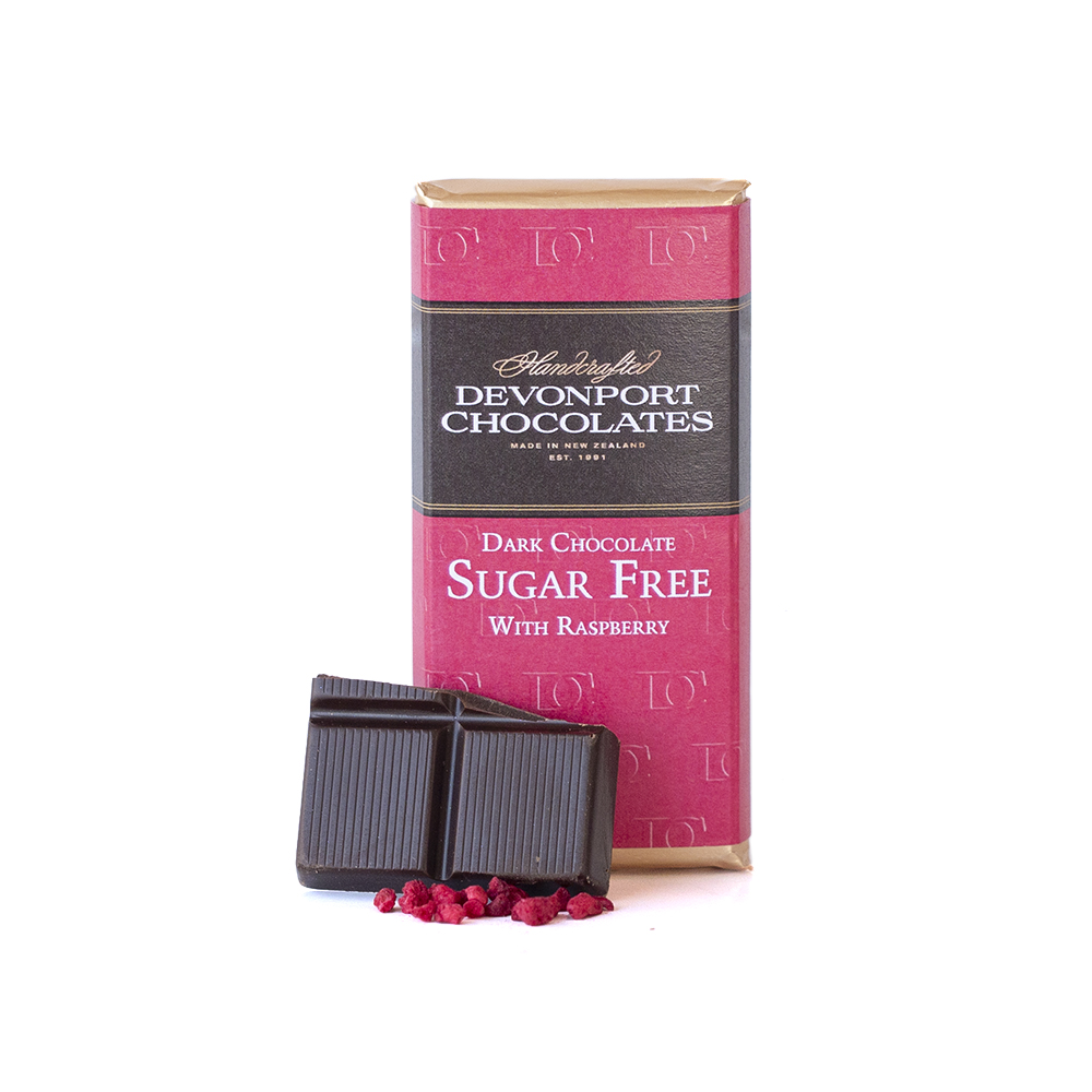 Sugar Free Dark Chocolate with Raspberry Pieces