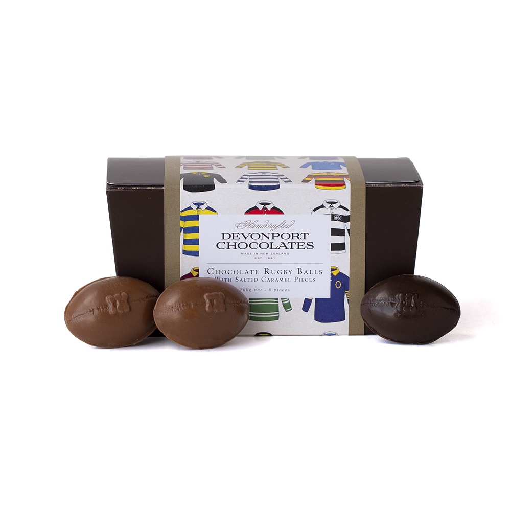 Salted Caramel Rugby Balls, Box of 8, Outer of 15 Boxes